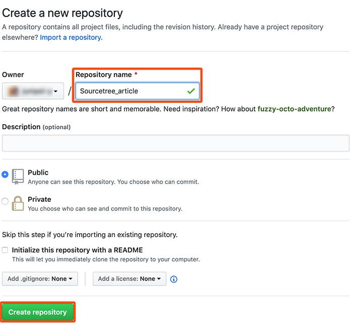「Create-repository」ボタンをクリック